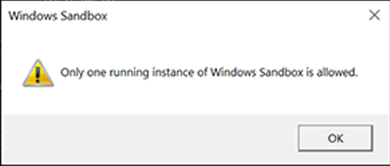 Only one running instance of Windows Sandbox is allowed.