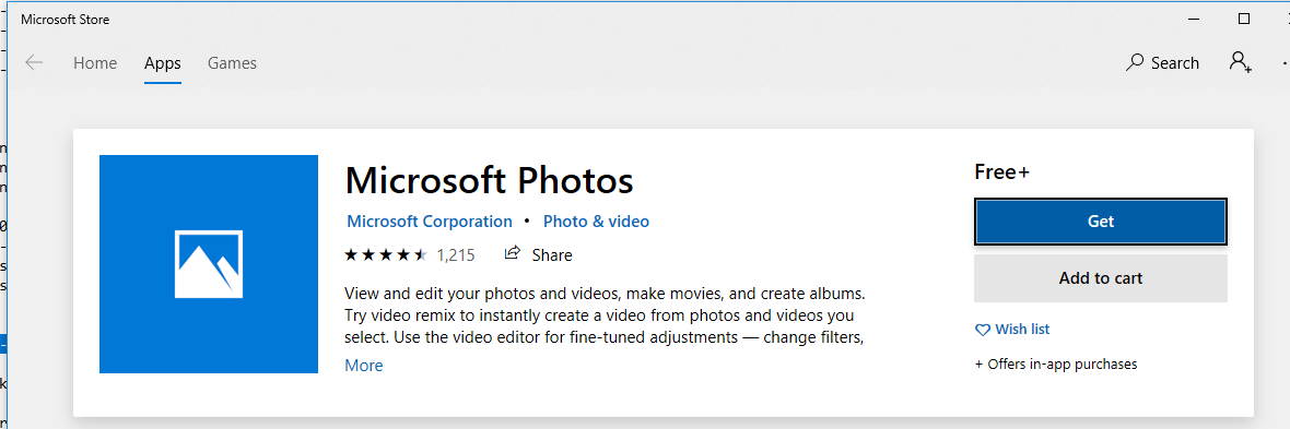 Переустановка приложения Microsoft Photos