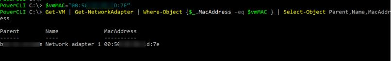 vmware powercli поиск виртуальных машин по mac адресу