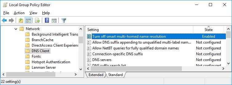 Turn off smart multi-homed name resolution политика DNS клиента