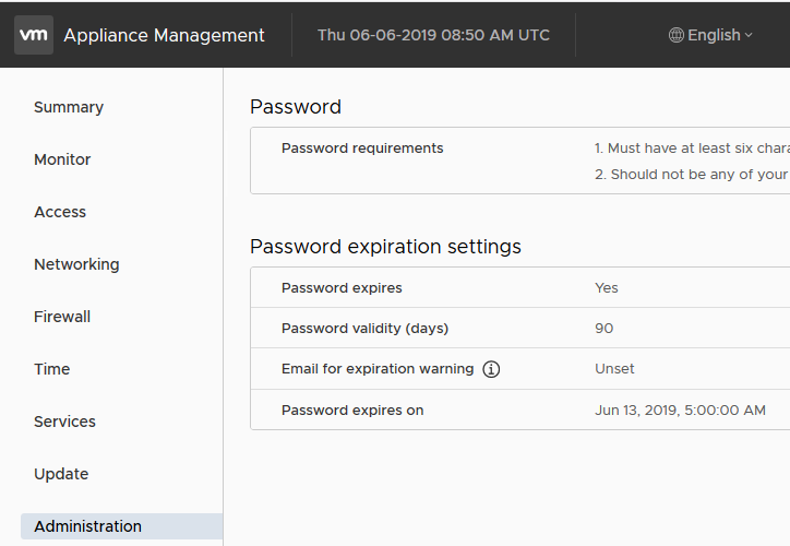 vmware appliance - password expiration settings