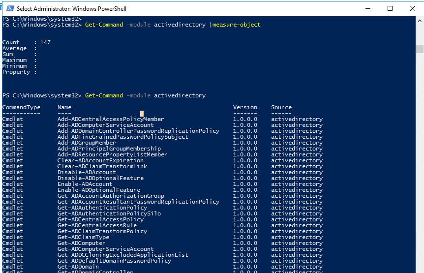 Get-Command –module activedirectory