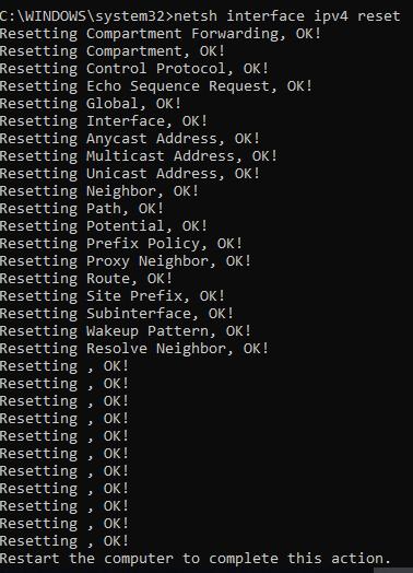 netsh interface ipv4 reset