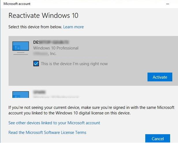 переактивация windows 10 после замены материнской платы