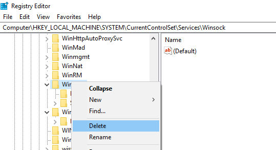 удалить ветку настроек WinSock в реестре