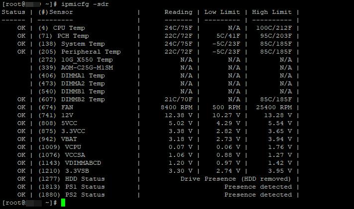 ipmicfg -sdr все сенсоры на сервере supermicro