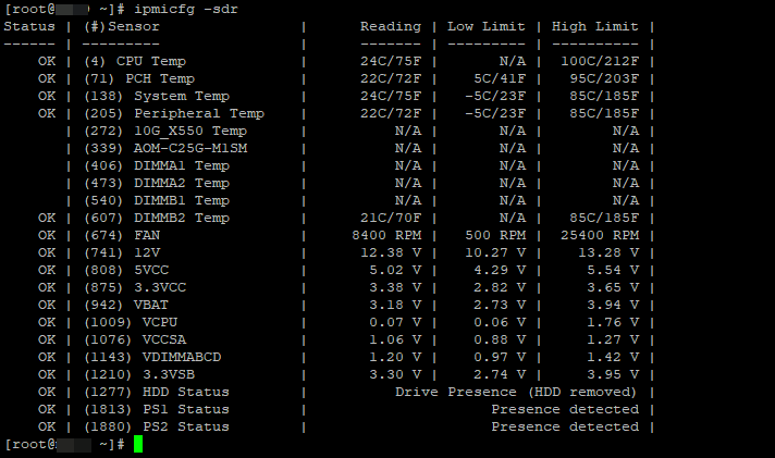 ipmicfg -sdr все сенсори на сервері supermicro