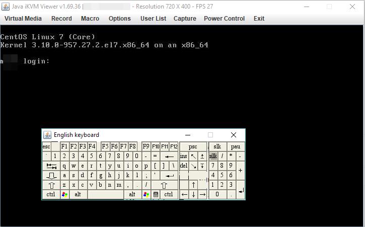 клавіатура в ipmi консолі