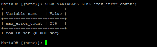 mariadb cli set VARIABLES