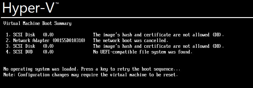 Ошибка загрузки Linux на Hyper-V: The image's hash and certificate are not allowed (DB).