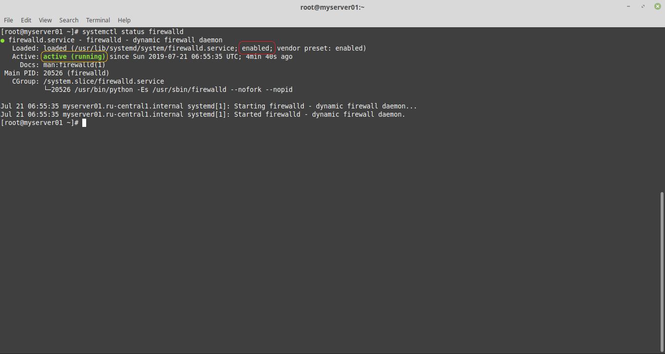 systemctl status firewalld в centos 7