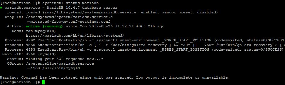 systemctl status mariadb - проверка службы в linux centos