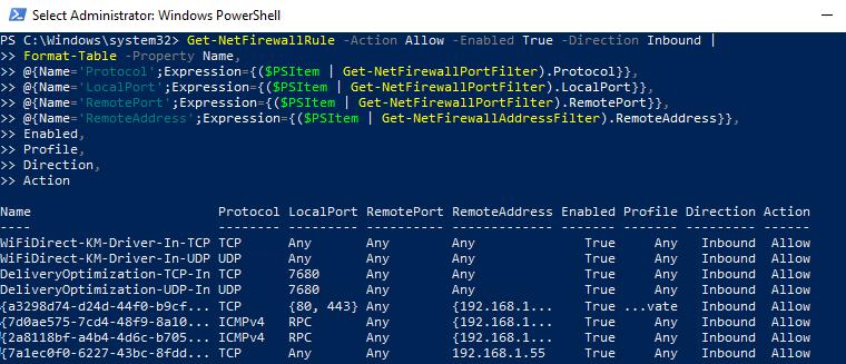 Get-NetFirewallRule вывести IP адрес и имя порта