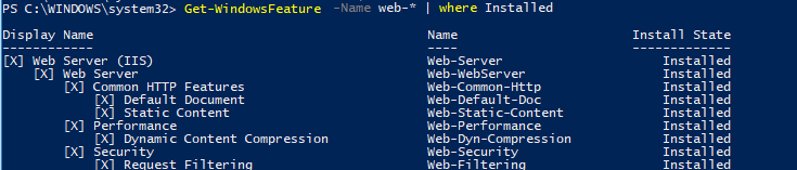 Get-WindowsFeature установленные компоненты iis