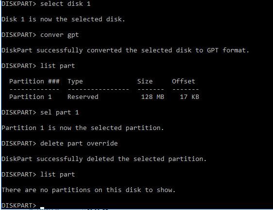 конвертирование диска в gpt
