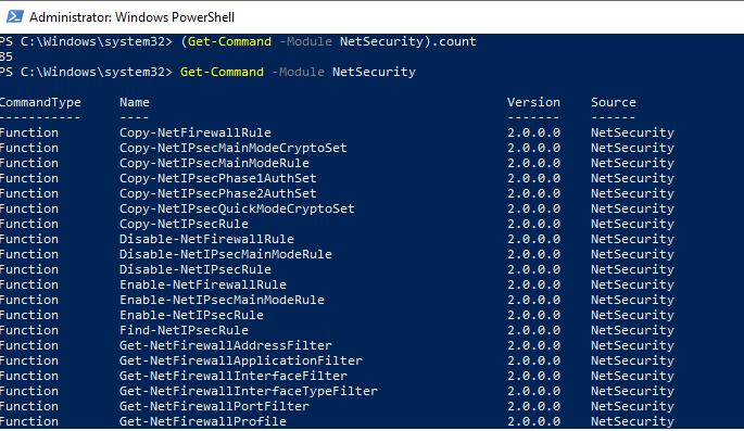 модуль NetSecurity для управления Windows Defender Firewall из PowerShell