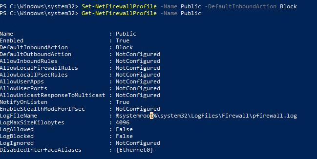 настройки за замовчуванням для public профілю Windows Firewall