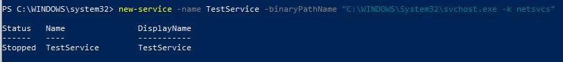 New-Service создать новую службу в windows