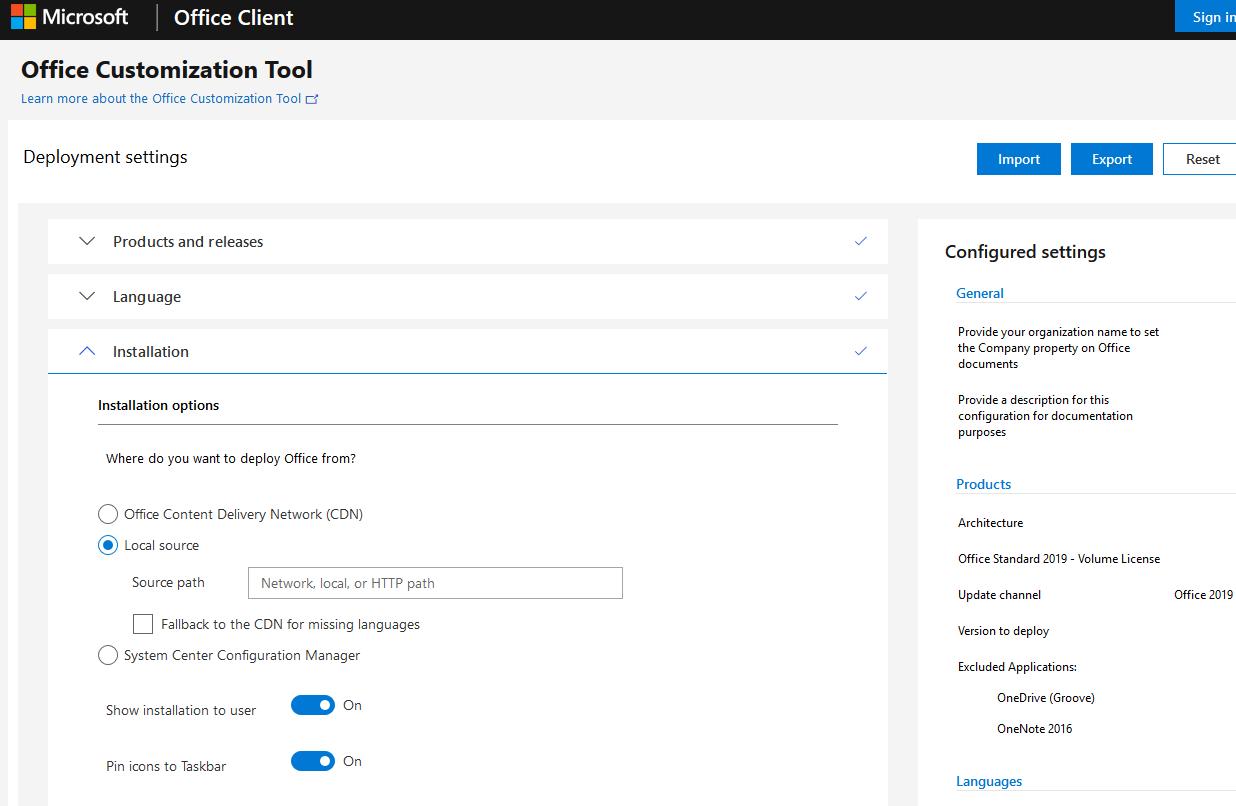 office customization tool - веб сервис для генерации xml файла для установки office 2019