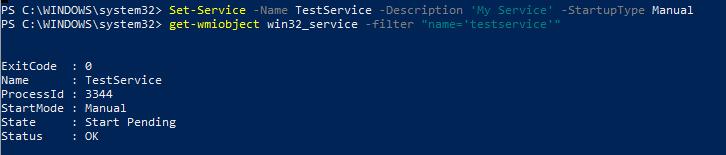 Set-Service - изменить тип запуска службы