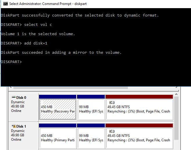 синхронизация данных в програмном raid 1 в windows