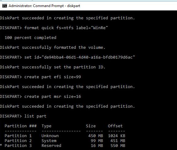 создание структуры разделов для загрузочного gpt диска