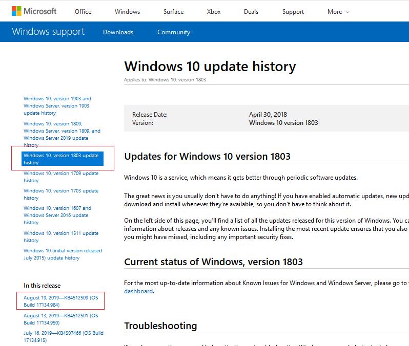 windows 10 - история обновлений безопасности для всех редакций