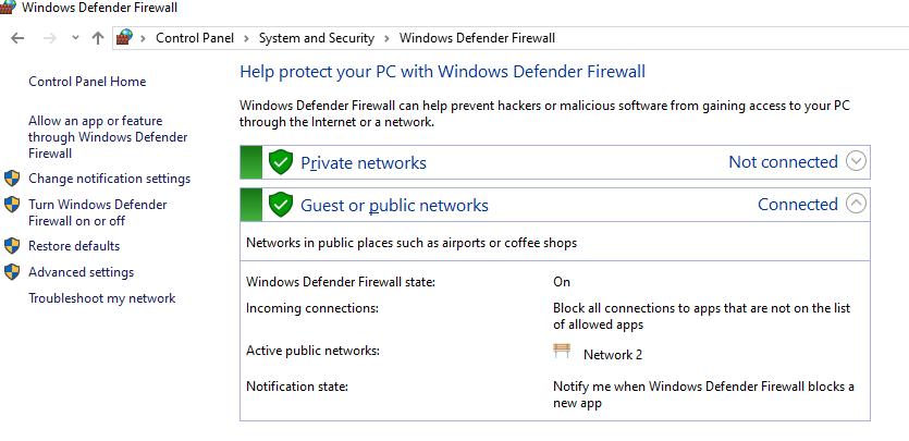 Windows Defender Firewall управління з панелі управління