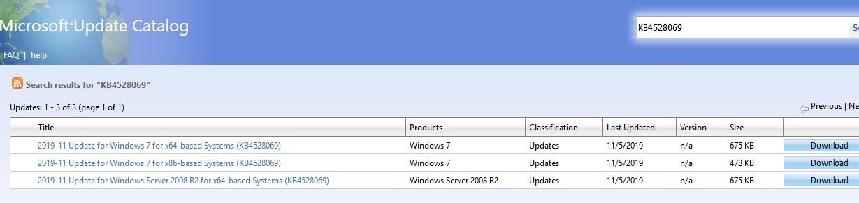 KB4528069 тестое обнвления для проверки участия в программе ESU для Windows 7