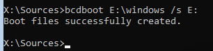 bcdboot Boot files successfully created