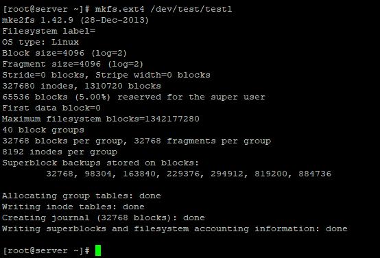 файловая система на LVM томе mkfs.ext4