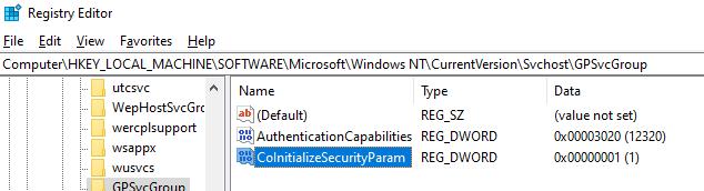 GPSvcGroup восстановление запуска службы. параметр AuthenticationCapabilities, CoInitializeSecurityParam