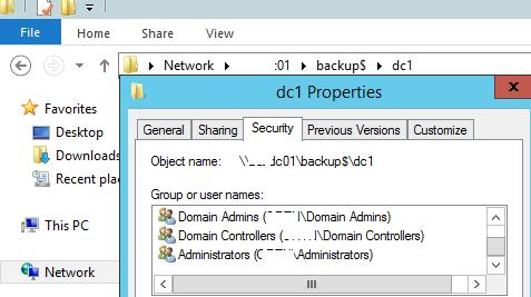 каталог для резевных копий Active Directory