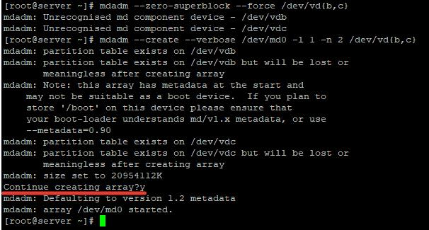 mdadm - создать raid1 из 2-х дисков в Linux