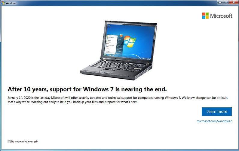 обновление KB4493132 - срок действия поддержки Windows 7 SP1 заканчивается 14 января 2020 года