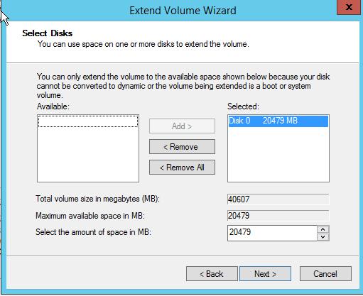 розширити диск в windows server