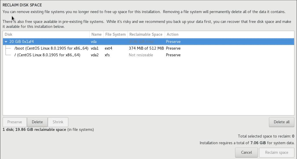 reclaim disk space