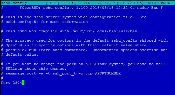 смена порта ssh в sshd_config