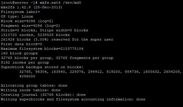 создать файловую систему ext4 на raid томе