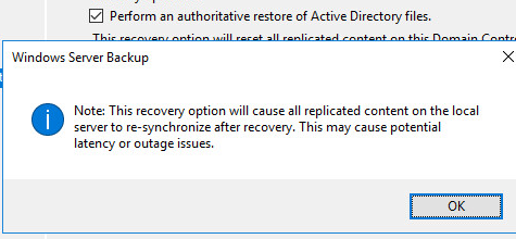 This recovery option will cause replicated content on the local server to re-synchronize after recovery