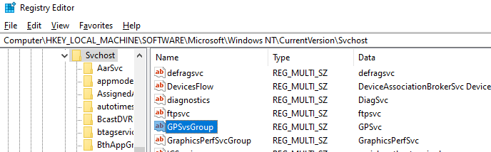 восстановление службы клиента GPO через реестр GPSvsGroup
