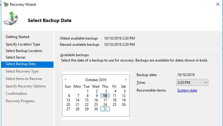 выберите дату создания резевной копии состояния контроллера домена AD