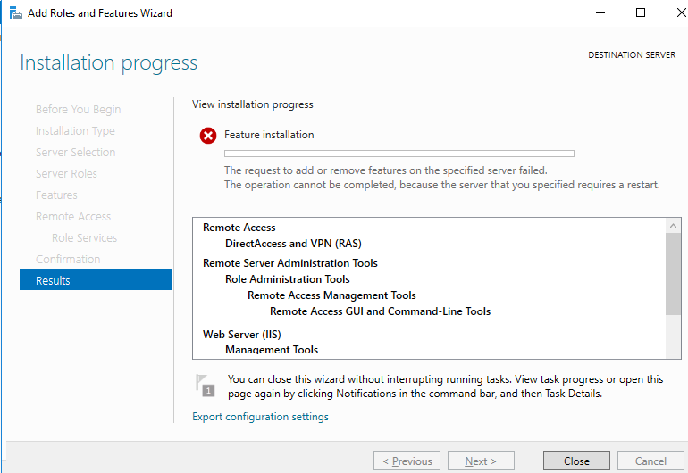 Windows Server 2016 Неможливо завершити операцію, так як потрібно перезавантажити вказаний сервер