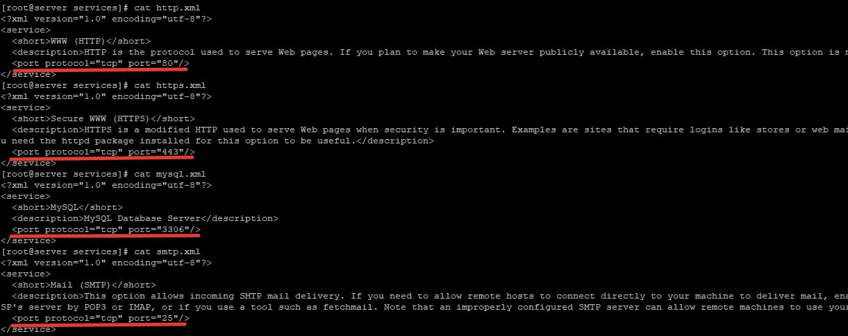 xml описания сервисов для firewalld