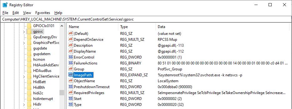 запись службы gpsvc в реестре
