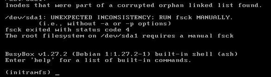 busybox initramfs - UNEXPECTED INCONSISTENCY; RUN fsck MANUALLY