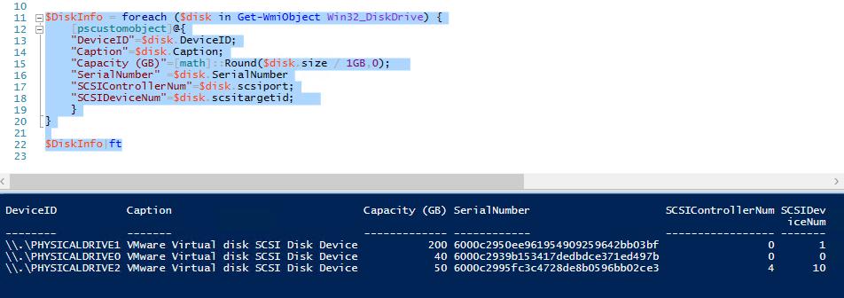 Get-WmiObject Win32_DiskDrive - получить serialnumber для дисков в Windows и SCSI Target