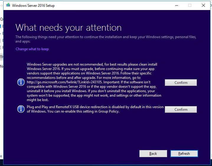 обновление windows server - ограничения