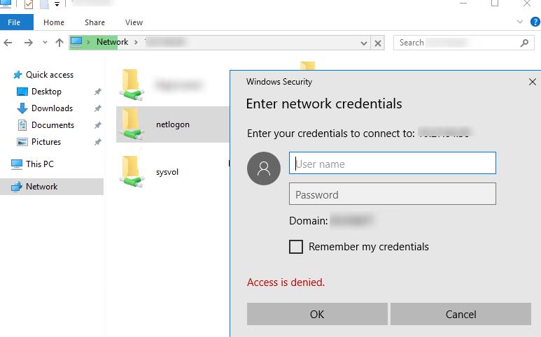 отказано в доступе к sysvol и netlogon на контроллере домена из Windows 10