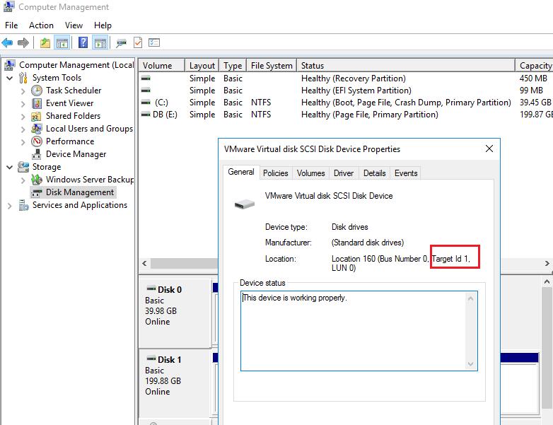 получить данные о scsi диске в windows
